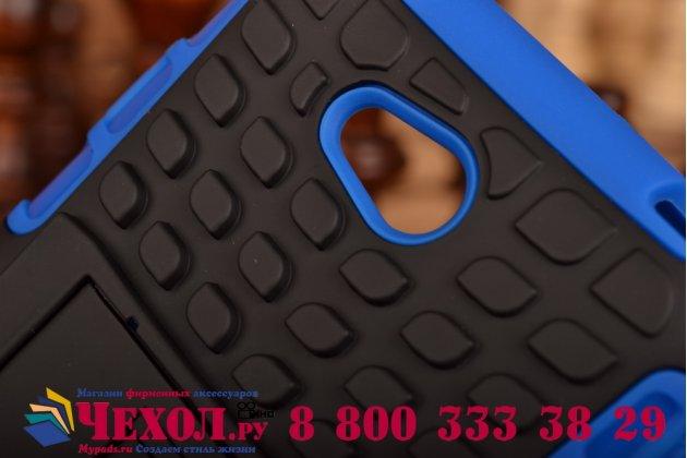 Противоударный усиленный ударопрочный фирменный чехол-бампер-пенал для LG L70 D325 синий