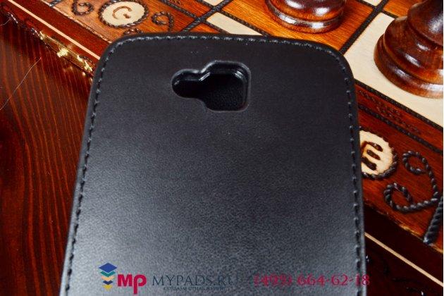 Фирменный оригинальный вертикальный откидной чехол-флип для LG L70 D325 черный кожаный