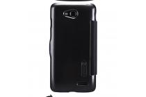 Фирменный оригинальный чехол-книжка для LG L90 D410 черный кожаный с окошком для входящих вызовов