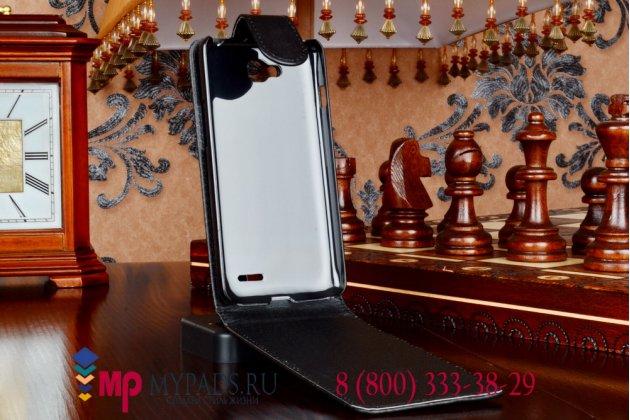 Фирменный оригинальный вертикальный откидной чехол-флип для LG L90 D410 черный кожаный