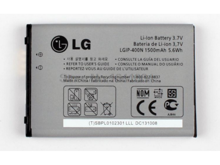 Фирменная аккумуляторная батарея LGIP-400N 1500 mAh на телефон LG Optimus C/M/T/U/V (GX500/GM750/GT540/GT500S/..