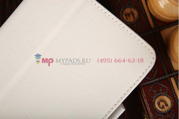 """Фирменный чехол бизнес класса для LG G Pad 7.0 V400  7"""" с визитницей и держателем для руки белый натуральная кожа """"Prestige"""" Италия"""
