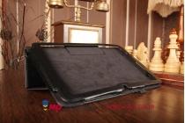 Фирменный чехол обложка для LG G Pad 10.1 V700 черный кожаный
