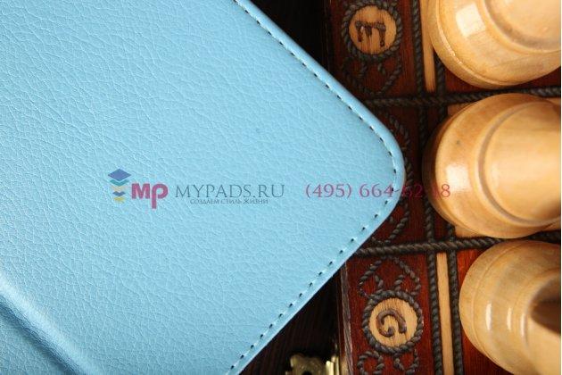 Фирменный чехол для LG G Pad 10.1 V700 голубой кожаный