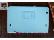 Фирменный чехол для LG G Pad 10.1 V700 голубой кожаный..
