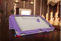 """Фирменный чехол бизнес класса для LG G Pad 10.1 V700 с визитницей и держателем для руки фиолетовый натуральная кожа """"Prestige"""" Италия"""