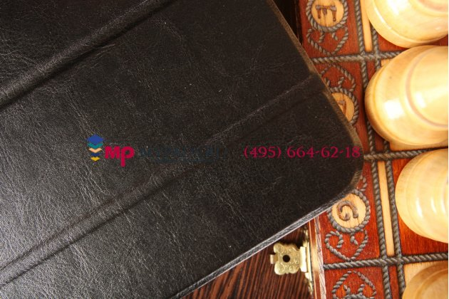 """Фирменный умный чехол-книжка самый тонкий в мире для LG G Pad 10.1 V700 """"Il Sottile"""" черный кожаный Италия"""