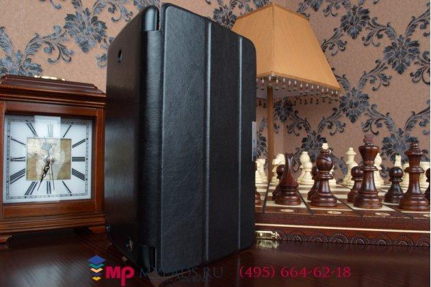 """Фирменный умный чехол-книжка самый тонкий в мире для LG G Pad 8.0 V480/V490 """"Il Sottile"""" черный кожаный Италия"""