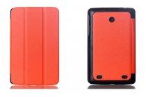 """Фирменный умный тонкий чехол для LG G Pad 8.0 V480/V490   """"Il Sottile"""" оранжевый пластиковый"""