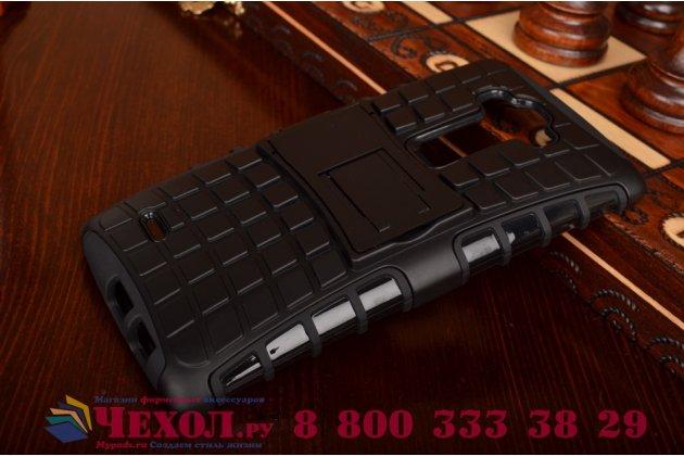 Противоударный усиленный ударопрочный фирменный чехол-бампер-пенал для LG G Flex 2 черный