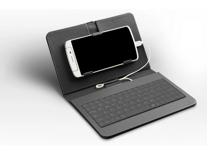 Фирменный чехол со встроенной клавиатурой для телефона LG G Flex 2 5.5 дюймов черный кожаный + гарантия..