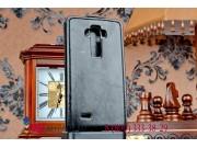 Фирменный оригинальный вертикальный откидной чехол-флип для LG G Flex 2 (H959) черный кожаный