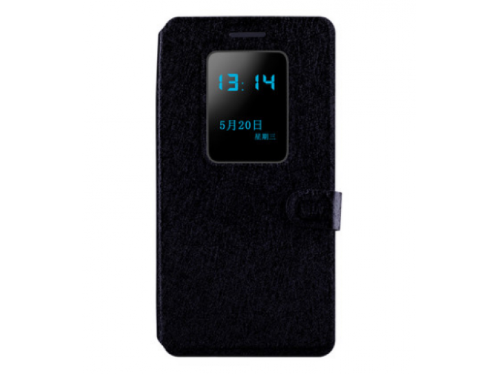 Фирменный чехол-книжка для LG G Flex 1 D958  черный с окошком для входящих вызовов водоотталкивающий..