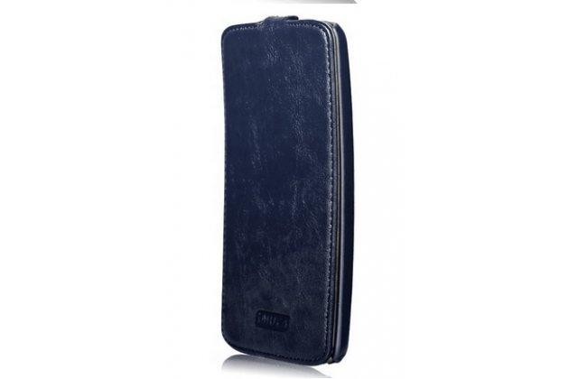 """Фирменный оригинальный вертикальный откидной чехол-флип для LG G Flex 1 D958 синий из натуральной кожи """"Prestige"""" Италия"""