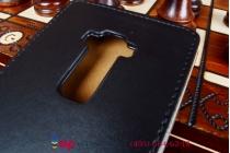 Фирменный оригинальный вертикальный откидной чехол-флип для LG G Flex D958 черный кожаный