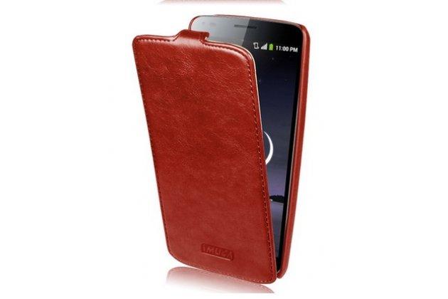 """Фирменный оригинальный вертикальный откидной чехол-флип для LG G Flex 1 D958 коричневый из натуральной кожи """"Prestige"""" Италия"""