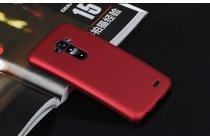 Фирменная задняя панель-крышка-накладка из тончайшего и прочного пластика для LG G Flex 1 D958  красная
