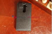 Фирменный вертикальный откидной чехол-флип для LG G2 черный кожаный