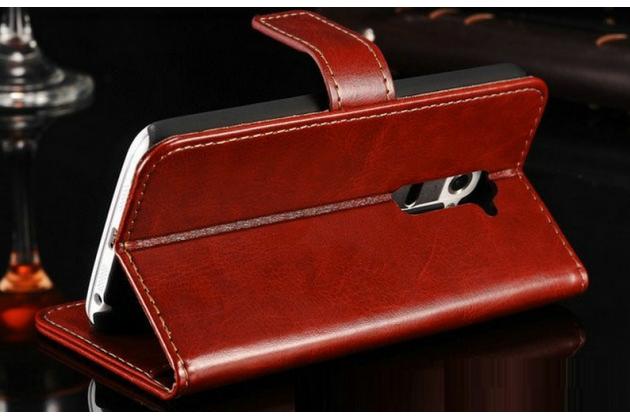 Фирменный чехол-книжка из качественной импортной кожи с мульти-подставкой застёжкой и визитницей для ЛДжи ЛГ Джи 2 коричневый