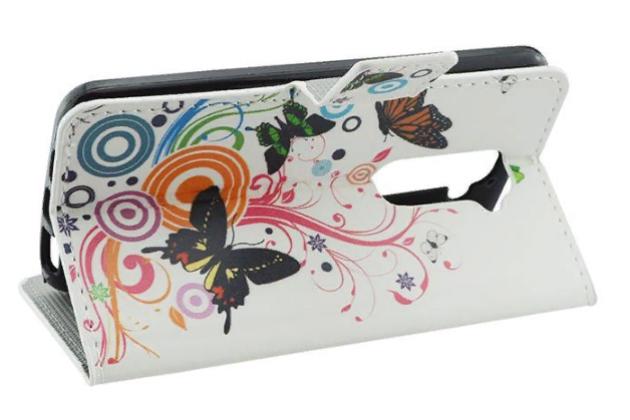 """Фирменный уникальный необычный чехол-книжка для LG G2 (D802) """"тематика Бабочки"""""""