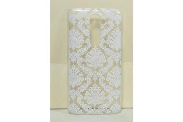 Фирменная роскошная задняя панель-чехол-накладка с расписным узором для LG G2 (D802) прозрачная белая