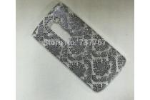 Фирменная роскошная задняя панель-чехол-накладка с расписным узором для LG G2 (D802) прозрачная черная