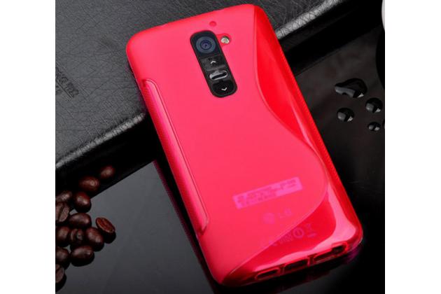 Фирменная ультра-тонкая полимерная из мягкого качественного силикона задняя панель-чехол-накладка для LG G2 (D802) красная