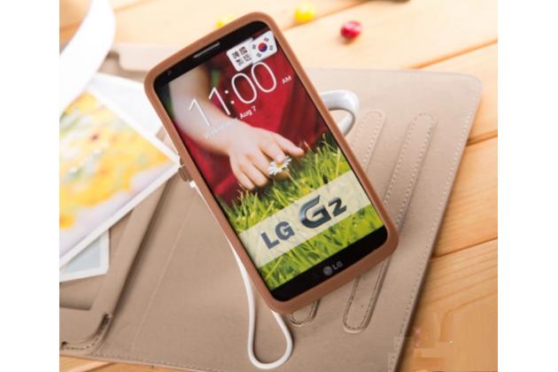"""Фирменная необычная уникальная полимерная мягкая задняя панель-чехол-накладка для LG G2 (D802) """"тематика Андроид в тёмном Шоколаде"""""""
