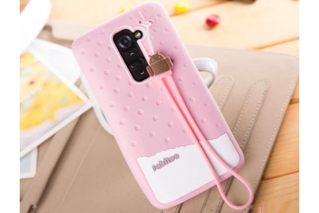 """Фирменная необычная уникальная полимерная мягкая задняя панель-чехол-накладка для LG G2 (D802) """"тематика Андроид в клубничном шоколаде"""""""