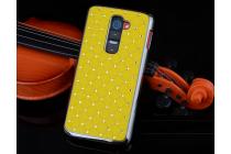 """Фирменная роскошная элитная задняя панель-крышка на металлической основе со стразами для LG G2 (D802) тематика """"Звездное небо"""" желтая"""