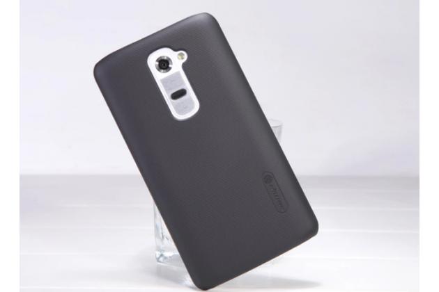 Фирменная задняя панель-крышка-накладка из тончайшего и прочного пластика для LG G2 (D802) черная