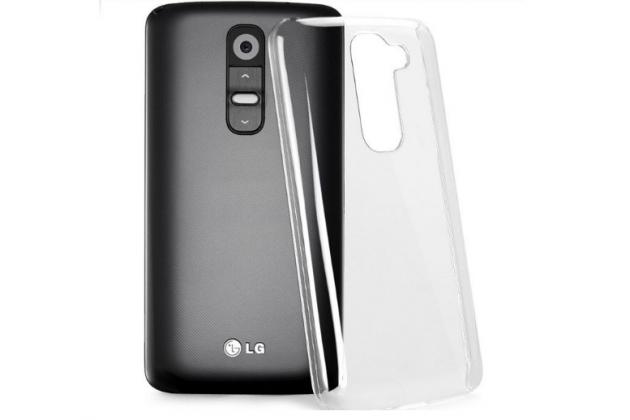 Фирменная задняя панель-крышка-накладка из тончайшего и прочного пластика для LG G2 (D802) прозрачная
