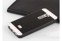 Фирменная металлическая задняя панель-крышка-накладка из тончайшего облегченного авиационного алюминия для LG G2 (D802) черная