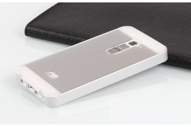 Фирменная металлическая задняя панель-крышка-накладка из тончайшего облегченного авиационного алюминия для LG G2 (D802) серебристая
