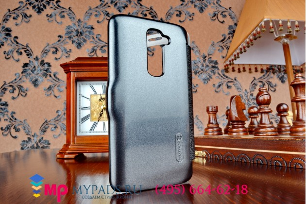 Фирменный оригинальный чехол-книжка для LG G2 (D802) черный  кожаный с окошком для входящих вызовов