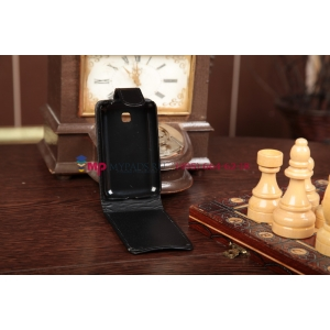 Фирменный вертикальный откидной чехол-флип для LG Optimus L3 II 2 E430 черный кожаный