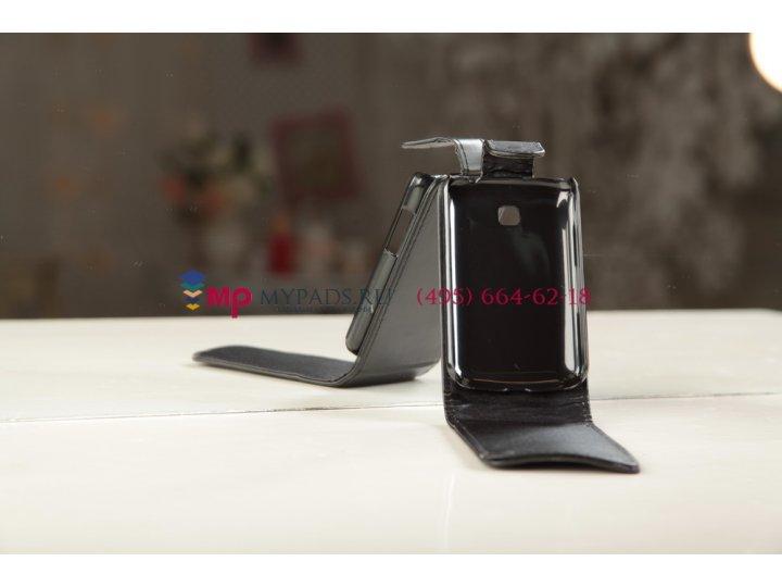 Фирменный вертикальный откидной чехол-флип для LG Optimus L3 II 2 E430 черный кожаный..