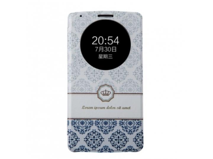 Фирменный чехол-книжка с безумно красивым расписным рисунком Короны на LG G3 /G3 Dual LTE D855/D856/D858/F400/..