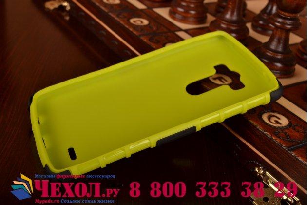 Противоударный усиленный ударопрочный фирменный чехол-бампер-пенал для LG G3 D855 зелёный