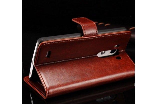 """Фирменный чехол-книжка из качественной импортной кожи с подставкой застёжкой и визитницей для ЛДжи Джи 3 / Джи 3 Эс Дуал / LG G3 /G3 Dual LTE D855/D856/D858/F400/F460/D830/VS985 5.46""""  коричневый"""