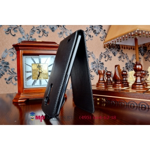 Фирменный оригинальный вертикальный откидной чехол-флип для LG G3 D855 черный кожаный