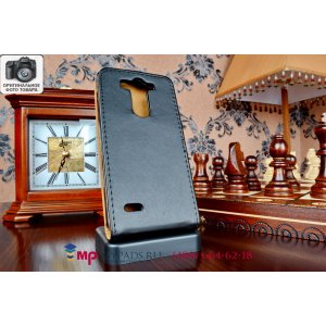Фирменный оригинальный вертикальный откидной чехол-флип для LG G3s Mini D724 черный кожаный
