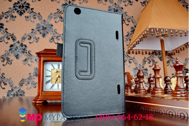 Фирменный чехол-обложка для LG G Pad 8.3 черный кожаный