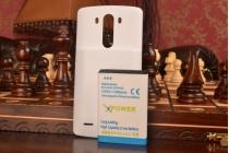 Усиленная батарея-аккумулятор большой ёмкости 6500mAh для телефона LG G3 /G3 Dual LTE D855/D856/D858 + задняя крышка в комплекте белая + гарантия