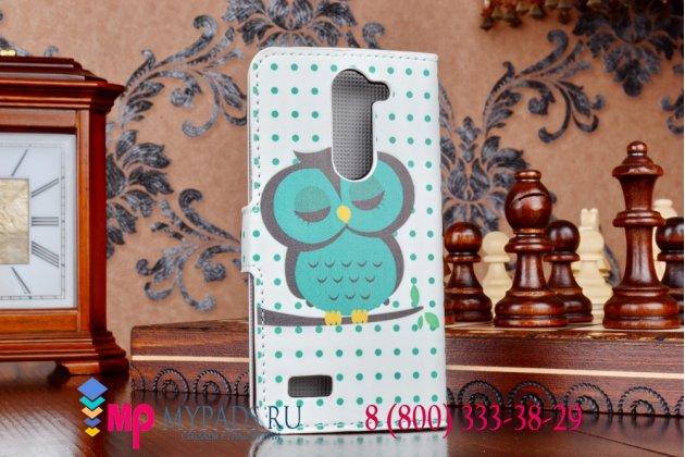 """Фирменный уникальный необычный чехол-книжка для LG L Bello D335 """"тематика Сова"""""""