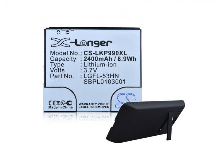 Усиленная батарея-аккумулятор большой повышенной ёмкости 2400mAh для телефона LG Optimus 2X + задняя крышка в ..