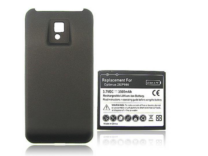 Усиленная батарея-аккумулятор большой повышенной ёмкости 3500 mAh для телефона LG Optimus 2x P990+ задняя крыш..