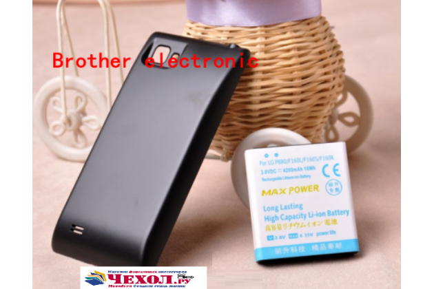 Усиленная батарея-аккумулятор большой повышенной ёмкости 4300 mAh для телефона LG Optimus 4X HD P880+ задняя крышка черная + гарантия
