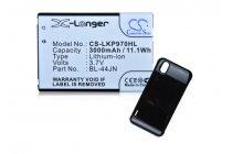 Усиленная батарея-аккумулятор большой ёмкости 3600mAh для телефона LG Optimus Black P970 + задняя крышка в комплекте черная + гарантия