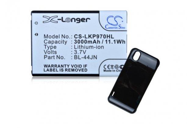Усиленная батарея-аккумулятор большой повышенной ёмкости 3600mAh для телефона LG Optimus Black P970 + задняя крышка в комплекте черная + гарантия